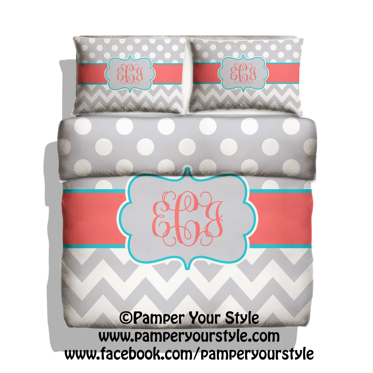 Marion S Coral And Gold Polka Dot Nursery: Polka Dot And Chevron Duvet With Matching Shams Personalize