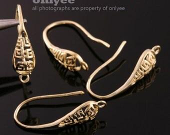 2pairs/4pcs-17mmX17mm Gold plated Brass Filigree Tear drop Earrings(K435G)