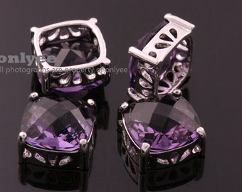 2pcs-10mmX10mmX6.5mmRhodium plated Brass Framed Faceted Square Glass Connectors,Pendants-Amyest(M348S-J)