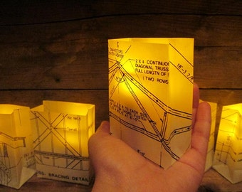 Mini Blueprint Luminaries, Vellum Luminaries, Architect, Architect Decor, Engineer, Architectural, Blueprint Art, Blueprints