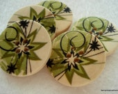 25mm Wood Buttons Green Star Flower Print Pack of 10 Green Buttons W2502