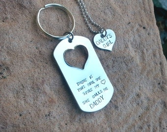 Father, daughter keychain and Necklace set