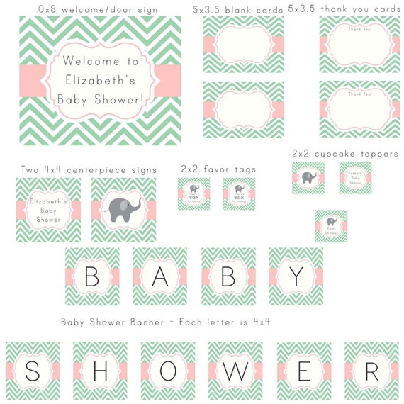 mint green and light pink chevron with elephant modern baby, Baby shower invitations