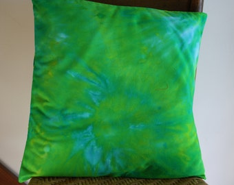 Hand Dyed Pillow Cover ; Blue Green Pillow ; Hand Dyed Fabric ; Ice Dyed Fabric ; Pillow ; Toss Pillow ; 16 x 16 Pillow : OOAK Pillow Cover
