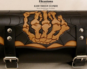 Hand Tooled Leather Tool Bag . Hand Tooled Leather Toolbag . Motorcycle Tool Bag .