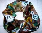 Hand Painted 100% silk batik scarf seven roses.