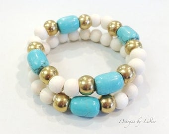 Set of White Wood Beaded Bracelets accented with Turquoise Beads and Gold Spacers