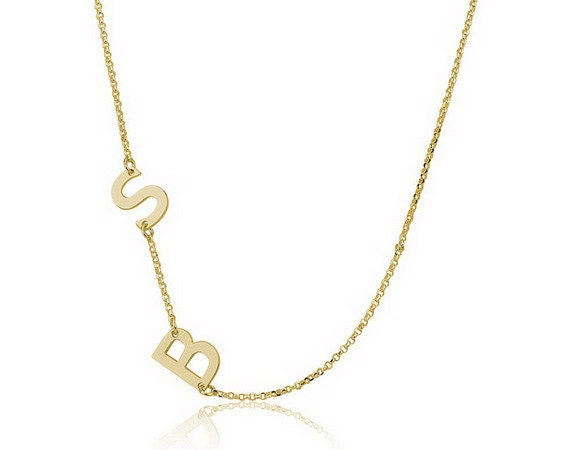 sideways gold initial necklace initial by personalizednecklace