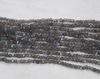 Natural Labradorite Rondelle Shape Micro faceted Beads