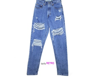 ALL SIZES - High Waisted Distressed Boyfriend Jeans