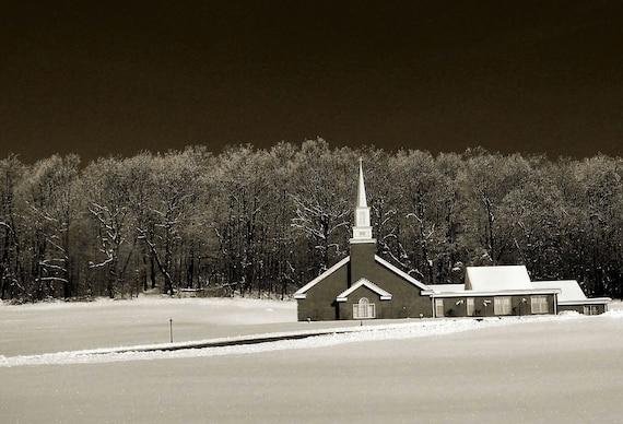 Church in winter scene