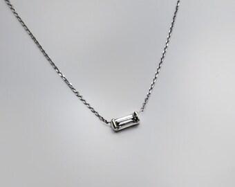 Delicate Diamond Baguette Necklace