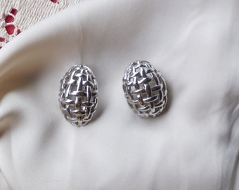 Vintage Monet Signed Earrings Silver toned
