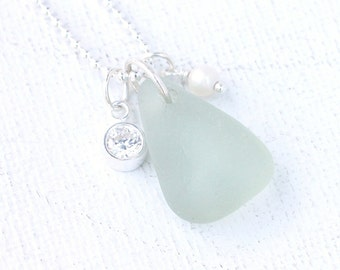 Genuine Sea Glass Necklace Pale Seafoam Seaglass Pendant Beach Glass Jewelry Cultured Freshwater Pearl and CZ