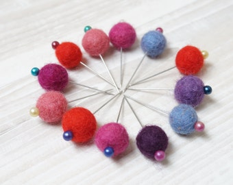 Felted 12  pins wool ball natural white beige eco brown dozen multicolor felt needlecraft sewing accessory red pink blue green yellow orange