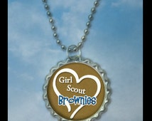 1 Girl Scout Brownie Necklaces, brownie crossover gift, Plain or GLITTER epoxy, brownie troop craft idea, Brownie necklace, brownie necklace