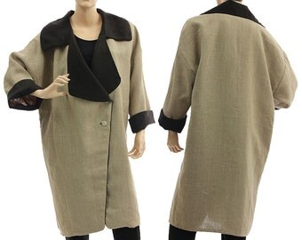 Reversible linen coat in nature with black red, lagenlook linen coat medium to plus size M-L US size 12-14, discount 130 USD was 320 now 190