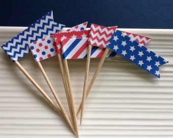 Patriotic / 4th of July / Red White and Blue / food picks / cupcake toppers / set of 24