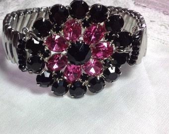 Bold Chunky Black & Pink Rose Rhinestones Repurposed Bracelet Silver Upcycled Watchband Brooch OOAK Retro Oversized Statement  WishAnWear