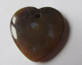 Indian Agate Heart Shape Pendant Bead  - Earth Tones - Brown Tones-  Gemstone Pendant Bead - Jewelry Making