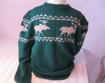 Vintage sweater pattern with moose