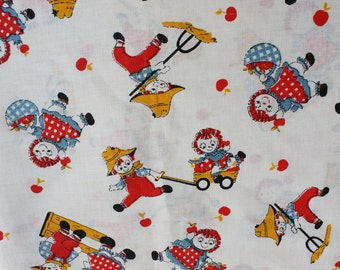 Vintage Raggedy Ann Andy Cotton Fabric by the yard, Kids Country Apple Orchard, Cute Children Novelty, Americana New Old Stock NOS Fabric