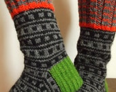 Hand knitted man wool socks