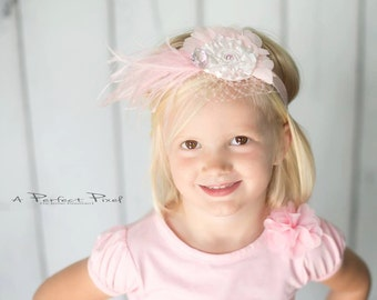 Pink Flower Headband, Swarovski headband, feather Headband, girls Headband, toddler headband, photo prop, hair accessories, children's band