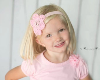 Flower Baby Headband, Swarovski Baby Headband, toddler headband, Soft Elastic Headband, Baby Girls headband, Photo Prop, flower girls, band