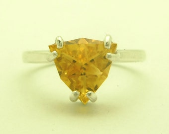 1.65 Carat Citrine Gemstone Ring Size 7 Sterling Silver Hand Cut Trillion Gem