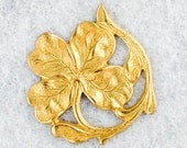 Set of Two Raw Brass Four-Leaf Clover Medallions