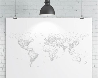 World Map Print - Typography / Words / Text - Map of the World, Map Art Print, A2 size (24in x 16.5in approx.)