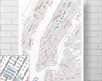 New York City Map Print - Typography / Words / Text - Map of New York City, Map Art Print, A1 size (33in x 24in approx.) NYC