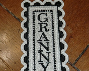"Embroidered Bookmark  - ""Granny"" - Black & White"