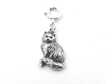 Sterling Silver Long Haired Cat Charm-Fits European and Traditional Charm Bracelets-2826