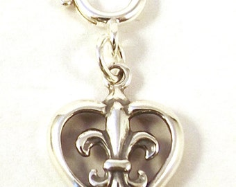 Sterling Silver Fleur de Lis in Heart Charm - Fits Both Traditional and European Charm Bracelets -2678
