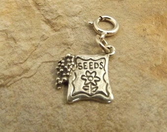 Sterling Silver Seeds Charm on 8mm Sterling Silver Spring Ring - 2690