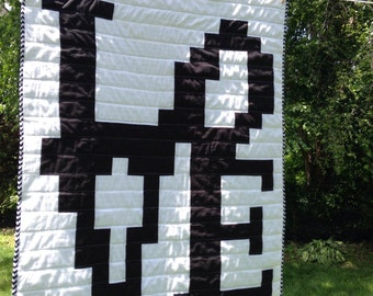 LOVE Baby Quilt - Made To Order- Black and White Unisex quilt