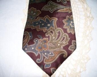 1980s Oscar de la Renta Men's Tie  - Wide Width - Brungundy Tan Blue Graphic Pattern - 100% Silk - Exclusively for Belk in the Triangle