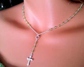 Peridot Gemstone Rosary Necklace Sterling Silver Cross Pendant Women Girls Rosaries Light Green August Birthstone
