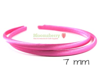 7 mm  Satin Plastic Headbands - Hot Pink Color - Toddler/Girl Size - Hot Pink Plastic Headband - Pink Headband - Hair Accessories Supplies