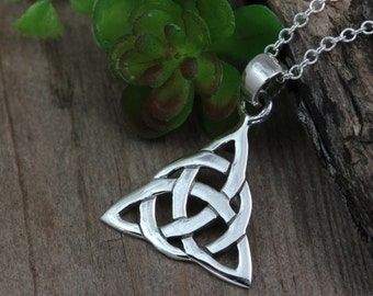 Irish Jewelry, Sterling Silver Triquetra Personalized with initial and birthstone, Trinity Knot Necklace, Celtic triquetra, Celtic jewelry,