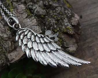 Wings Necklace - Sterling silver Angel Wing Pendant on Siterling silver chain or Leather, Silver wing -Silver Necklace, Sterling Angel Wing