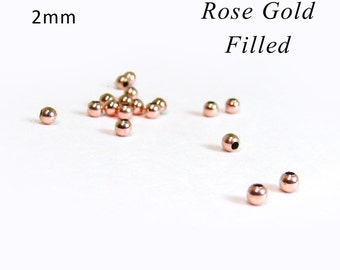 SALE Tiny Rose Gold Filled Beads 2mm Round Beads RZ210R