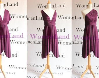 WomenLand : Tailor Made Butterfly High Low Hem Wedding Bridal All Season Party Dresses Dark Purple Knee Length Infinity Convertible
