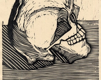 Hand-Pulled Woodcut Skull #15