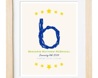 Digital Printable Monogram Birth Announcement - Monogram Nursery Art - Children Art Print