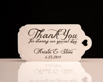 Wedding Favor Tags - Hand Embossed - Personalized Thank You Tags, Perfect for Weddings or Party Favors