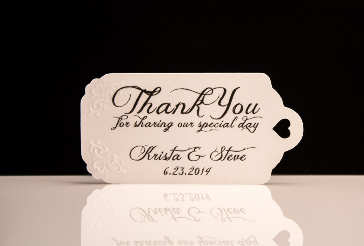 Wedding Favor Tags Hand Embossed Personalized Thank You