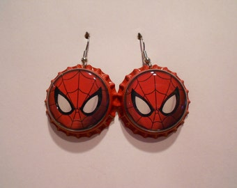 Spiderman bottle cap earrings